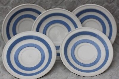 Vintage Blue & White Saucers X5 Carrigaline Pottery County Cork Ireland