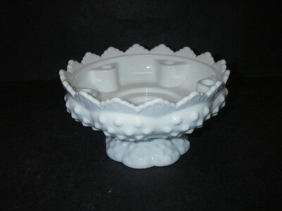 Fenton Art Glass HOBNAIL Milk White Candle Bowl Footed Round Holds 6.
