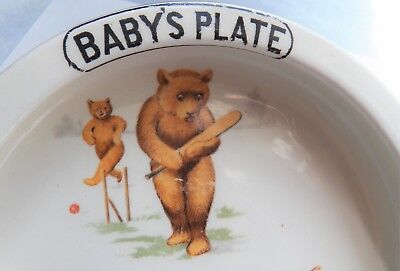 Antique Baby's Plate ~ Bears Playing Sports ~ Feeding Dish