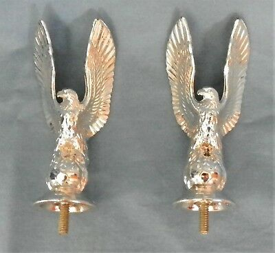 2 Vintage Silver Eagle Wings Up Trophy Parts Toppers New Old Stock PDU