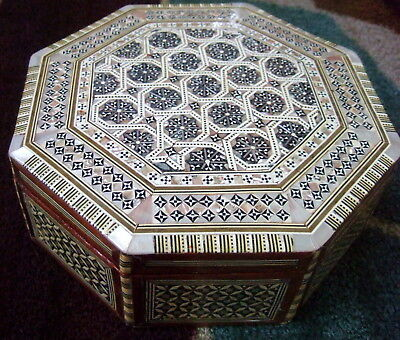 """Huge Egyptian 9 1/2"""" Octagon Jewelry Box Egypt  Mother Of Pearl Inlays! Handmade"""