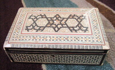 """Huge Egyptian 10""""  Jewelry Box Egypt  Mother Of Pearl Inlays! Handmade Main Star"""