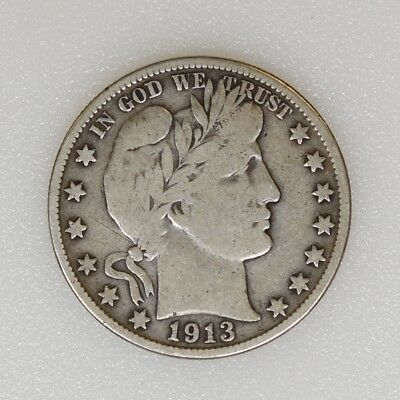 1913-S F/VF Condition Barber Silver Half Dollar Tough Date Nice Color- I-13862 G