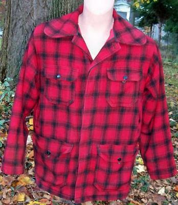 """1940'S-50's MEN'S BLACK & RED PLAID  LINED WOOLRICH HUNTING JACKET-46""""CHEST-USA"""