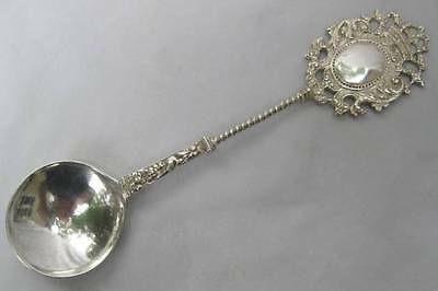 Antique Dutch Export 833 Grade Silver 8 Inch Engraved Armorial Serving Spoon