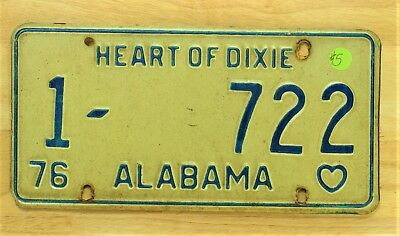1976 Vintage Alabama Heart Of Dixie License Plate Auto Car Vehicle Tag Item #650