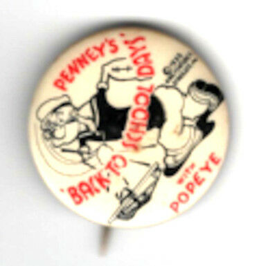 Vintage Pin Popeye Pin 1935 JC Penney's Back to School Days with Popeye Pin