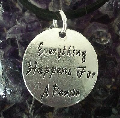 "WOW ""EVERYTHING HAPPENS FOR A REASON"" DISC on 50 cm long leather strap/key chain"