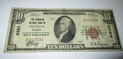 $10 1929 Nevada Missouri MO National Currency Bank Note Bill! Ch. #9382 Fine!