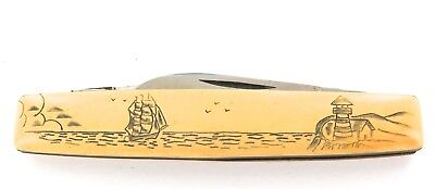 Superb Case Xx 268 Scrimshaw Style Handle / Lighthouse & Ship Pen Knife.