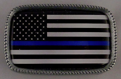 THIN BLUE LINE US FLAG Subdued Antique Silver Belt Buckle USA MADE police