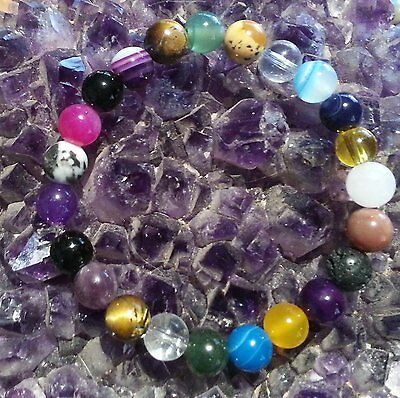 HANDCRAFTED FOR YOU - MIXED 8mm GEMSTONE BEAD STRETCHY BRACELET with free post !