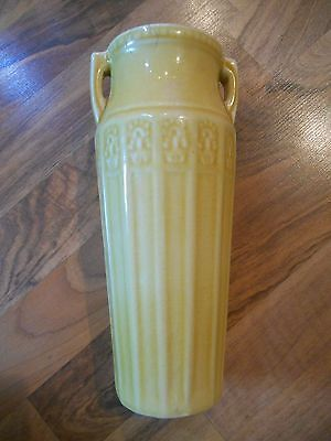 "Old Vintage Red Wing Art Pottery Egyptian Vase Yellow 9 1/4"" Home Decor 1920-30"