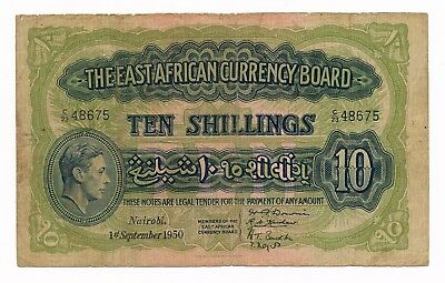 East Africa 10 Shillings 1950 P. 29  George VI Note Very Rare VG