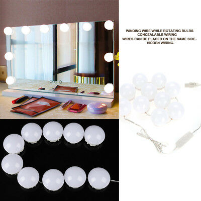 10X LED Vanity Makeup Mirror Lights Kit Hollywood Style Dimmable Table Bulbs USB