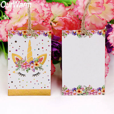 100×Unicorn Paper Bag Tags  Party Gift Packing Label+Rope Craft Paper Gift Tags