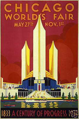 "Chicago World's Fair Lakefront Northerly Island 1933 USA 12x8"" Retro Poster"
