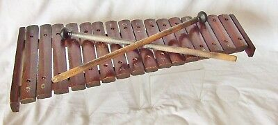 Xylophone~Unusual Wooden Keyed Vintage/antique Xylophone & Hammers