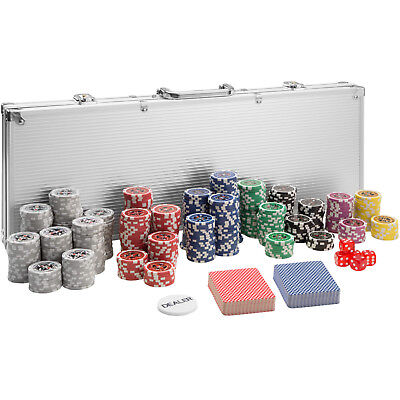 Pokerkoffer Pokerset 500 Chips Laser Pokerchips Poker Set Jetons Alu Koffer Silb