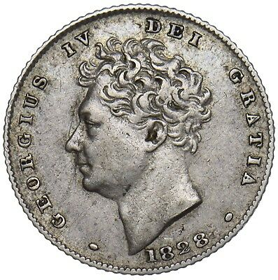 1828 Sixpence - George Iv British Silver Coin - Rare