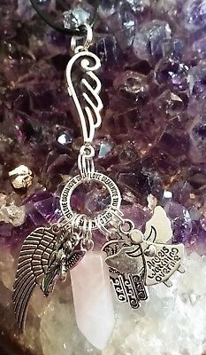 Wow - New Style Wing, Angel & Rose Quartz Gemstone Pendant With Silver Charms