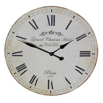 French Antique Style Shabby Chic Large 'Grand Chateau Hotel' 60cm Wall Clock