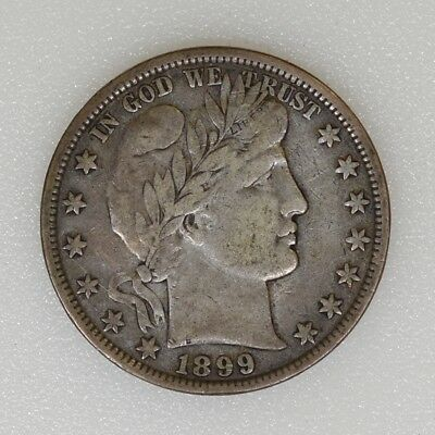 1899-P VF Condition Barber Silver Half Dollar Great Color Nice Strike - I-13886