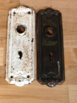 2  Antique Vintage Brass Arts Crafts Mission Door Knob Lock Key Hole Plate