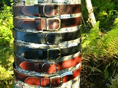"Handmade Heavy Duty Solid Leather Belt Men Women 1 1/2"" Inch wide Brass/Chrome"