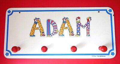 Vintage Wall Mounted Childrens Clothes Hanging Rack Sign ADAM Clowns Hardwre Inc