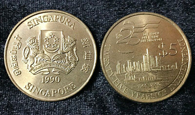 Singapore 5 Dollars 1990 Comm. 25Th Independence Coin Unc