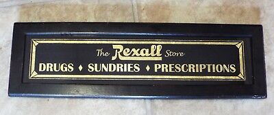 Old Antique THE REXALL STORE Framed Glass Advertising PHARMACY SIGN Gold Leaf