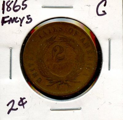 Stunning 1865 United States 2c Coin XF966