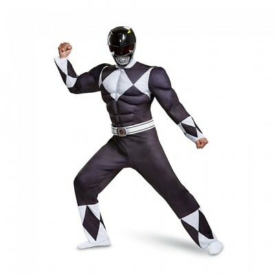Disguise Black Power Ranger Classic Muscle Adult Mens Halloween Costume 79733