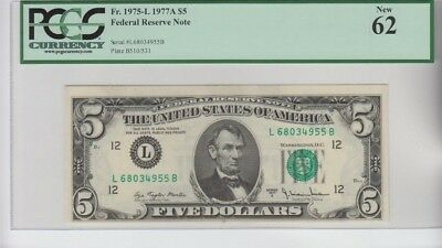 Federal Reserve Note $5  1977-A  PCGS graded new 62