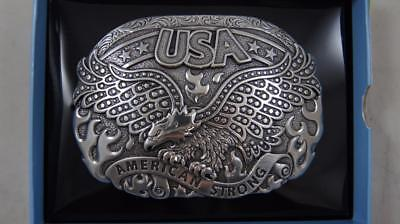 Nocona Silver Tone Eagle American Strong USA Oval Belt Buckle 37122