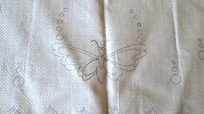 "antique linen huck hand towel stamped for embroidery+cutwork, 27x15.75"", unused"