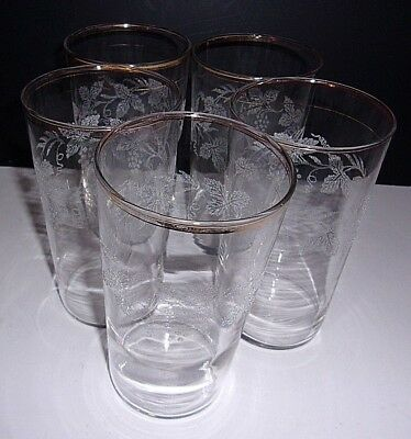 Set of 5 Vintage Bartlett Collins gold trim tumblers with frosted Grape Design