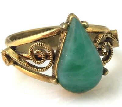 Vintage Ring Green Glass Cab Filigree Gold Tone Metal Adjustable Nos Jewelry