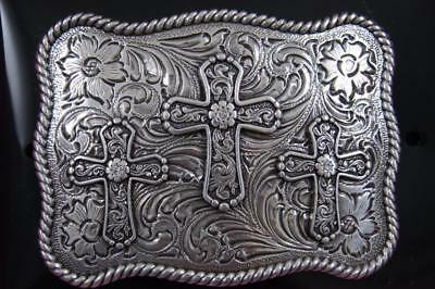 Nocona Western Belt Buckle Three Crosses Cross 37520