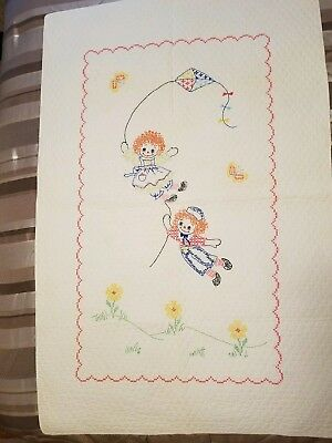 Old Baby Quilt Blanket Crib Size Raggedy Ann/Andy Fly A Kite  Cross Stitch...