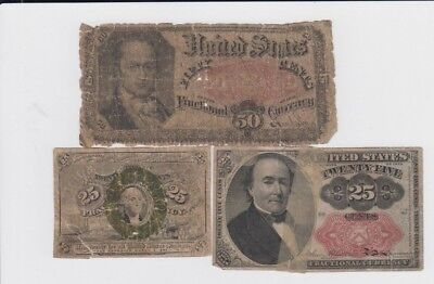 Fractional Currency Civil war era item to the 1870s 3 notes lower grade