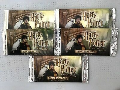 Harry Potter and the Sorcerer's Stone Movie Trading Cards 5 Pack Lot 2001 Wizard