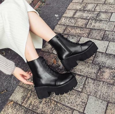 bd74fb6e3aa62 Chic Womens Winter Round Toe Lace Up Gothic Chunky Mid Heels Punk Ankle  Boots