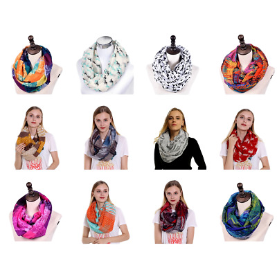 Women Voile Infinity Scarf Long Loop Head Neck Wrap Shawl Hijab Floral Scarves