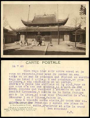China 1948 Old Postcard Chinese Temple, Catholic Missions, Une Bonzerie en Chine