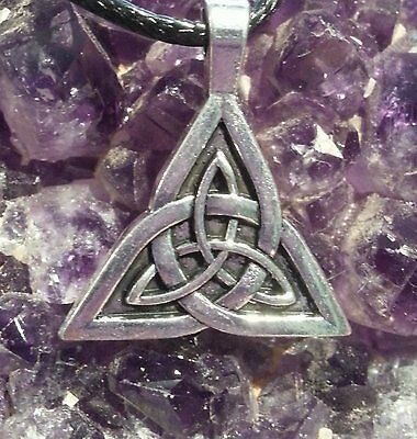 WOW - SILVER CELTIC KNOT TRIQUETRA CHARM PENDANT ON 44cm EXT BLACK CORD