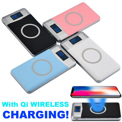 12000mAh Power Bank Qi Wireless Charging 2 USB LCD LED Portable Battery Charger