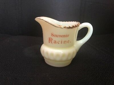 Antique Souvenir Custard Cream Pitcher Racine, Mn Must See Look!
