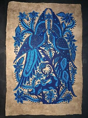 Mexican Painting Latin Native Ethnic Art Wall Hanging Home Decor Blue Birds